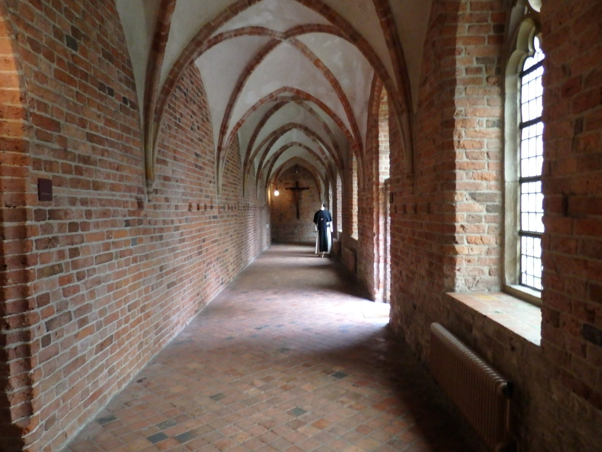 One of the interior garden's cloister walkways in Ter Apel Cloister in the Netherlands