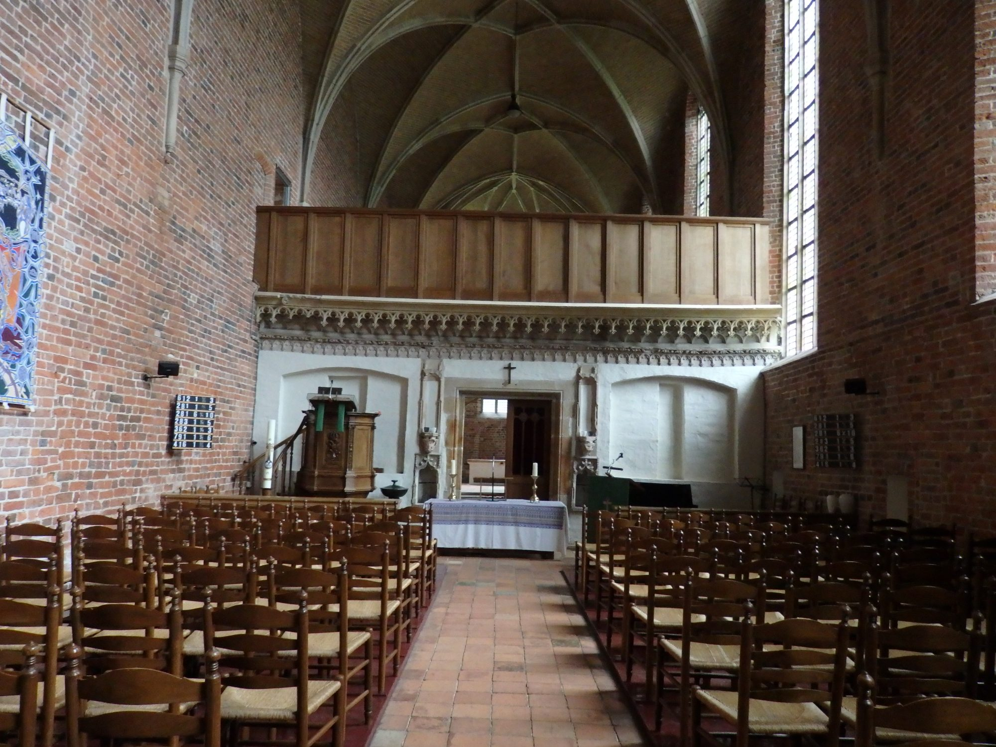 The villagers' side of the church, looking toward their altar and the barrier between them and the monks. Ter Apel, the Netherlands