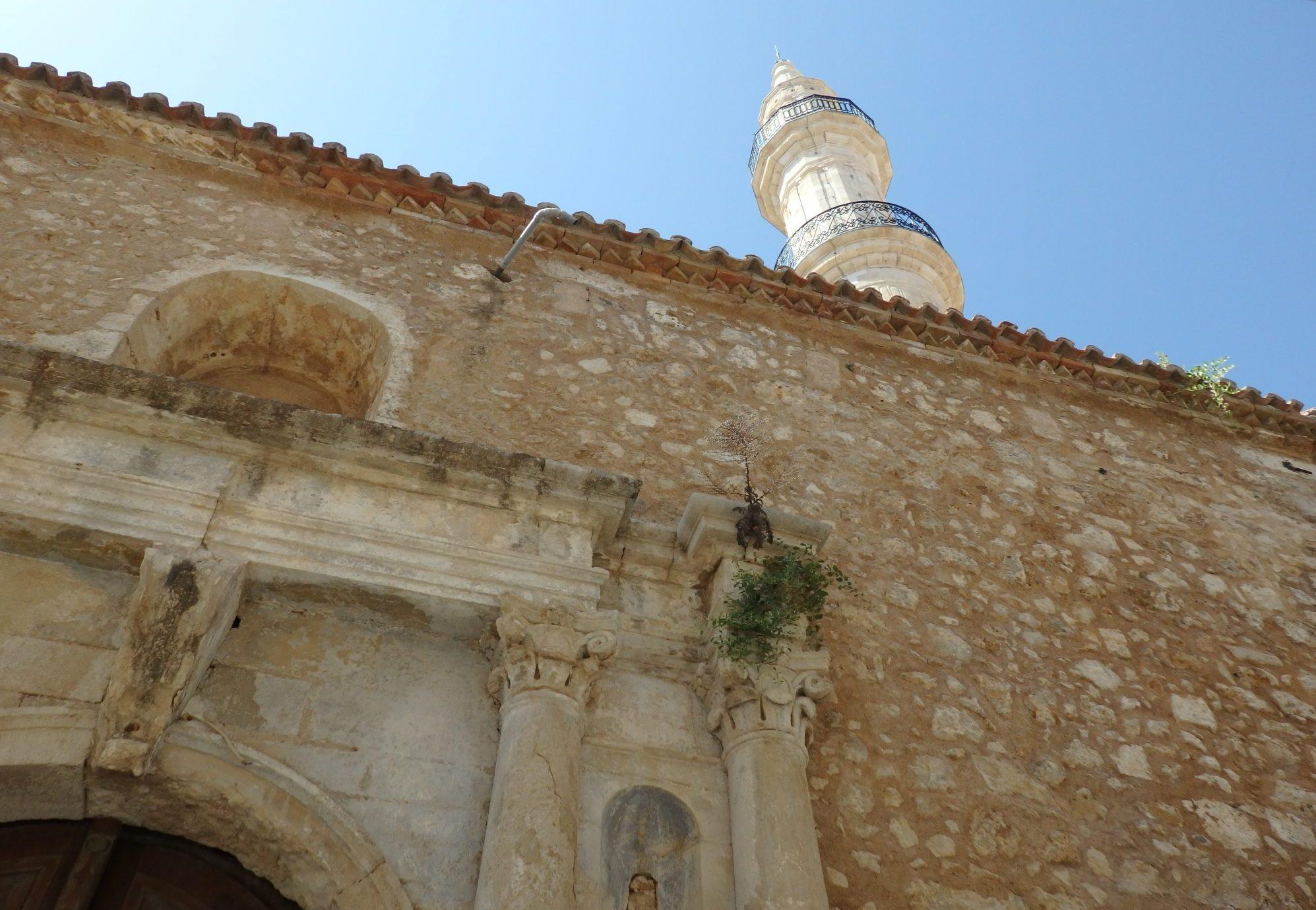 Neratze Mosque in Rethymnon: an original doorway and the restored minaret