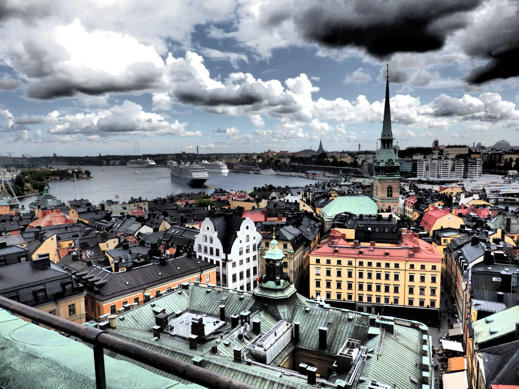 view from the top of Storkyrkan church tower in Stockholm