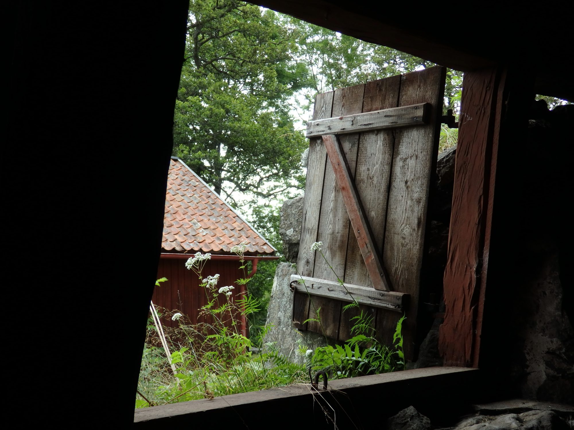 looking out of the forge building at Wira Bruk museum, Roslagen, Sweden