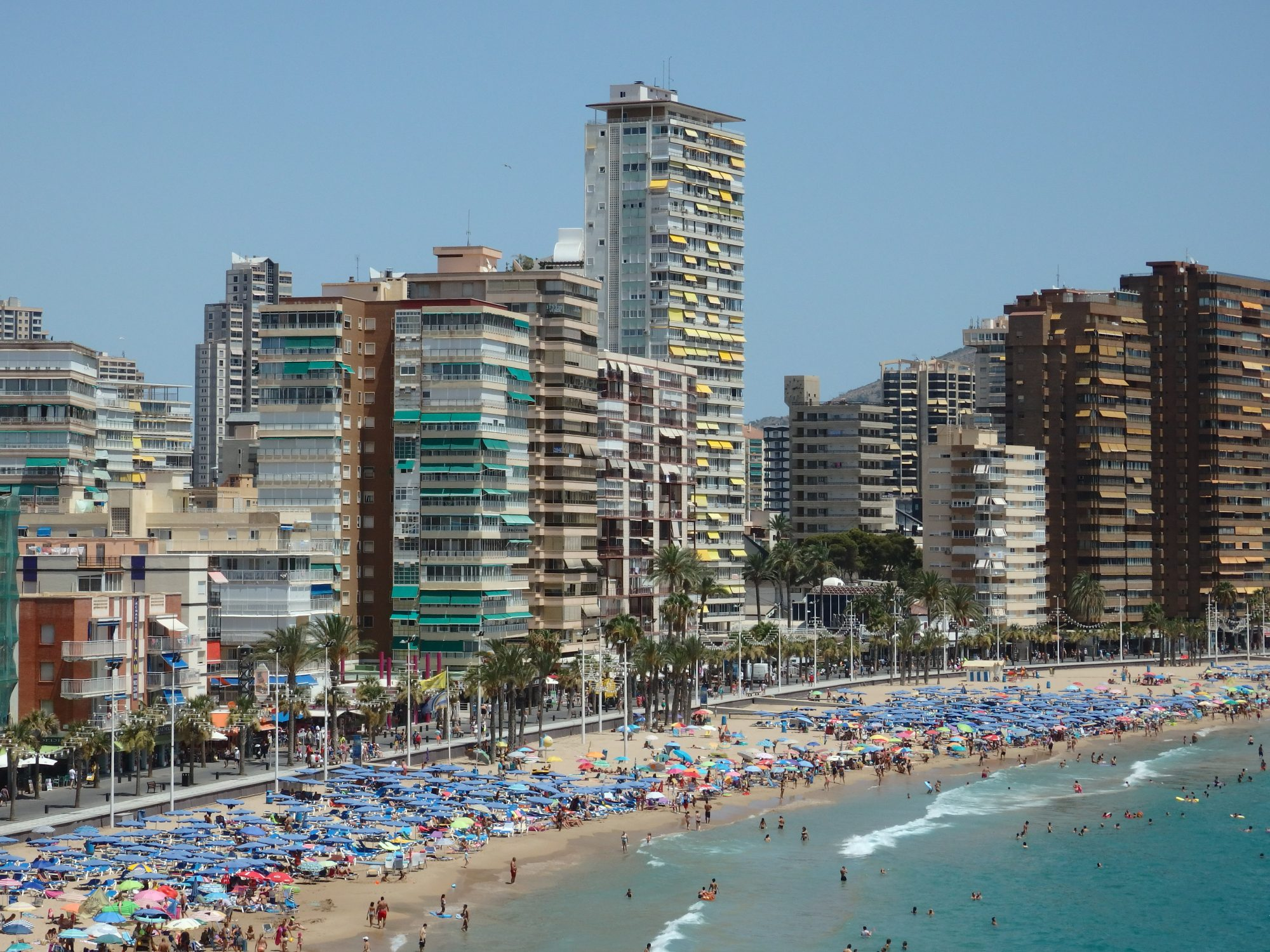 one part of Levante beach in Benidorm, Spain