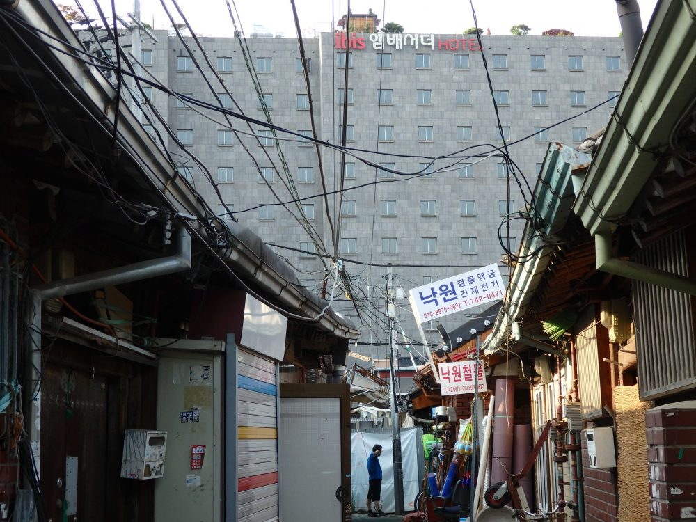 One of the hotels I booked through Hotwire in Seoul overlooked an area of traditional hanok houses.