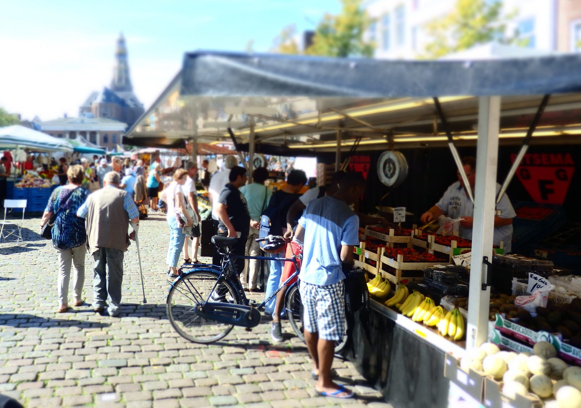 A market stall here at home in Groningen, the Netherlands. Visit the market at any travel destination!