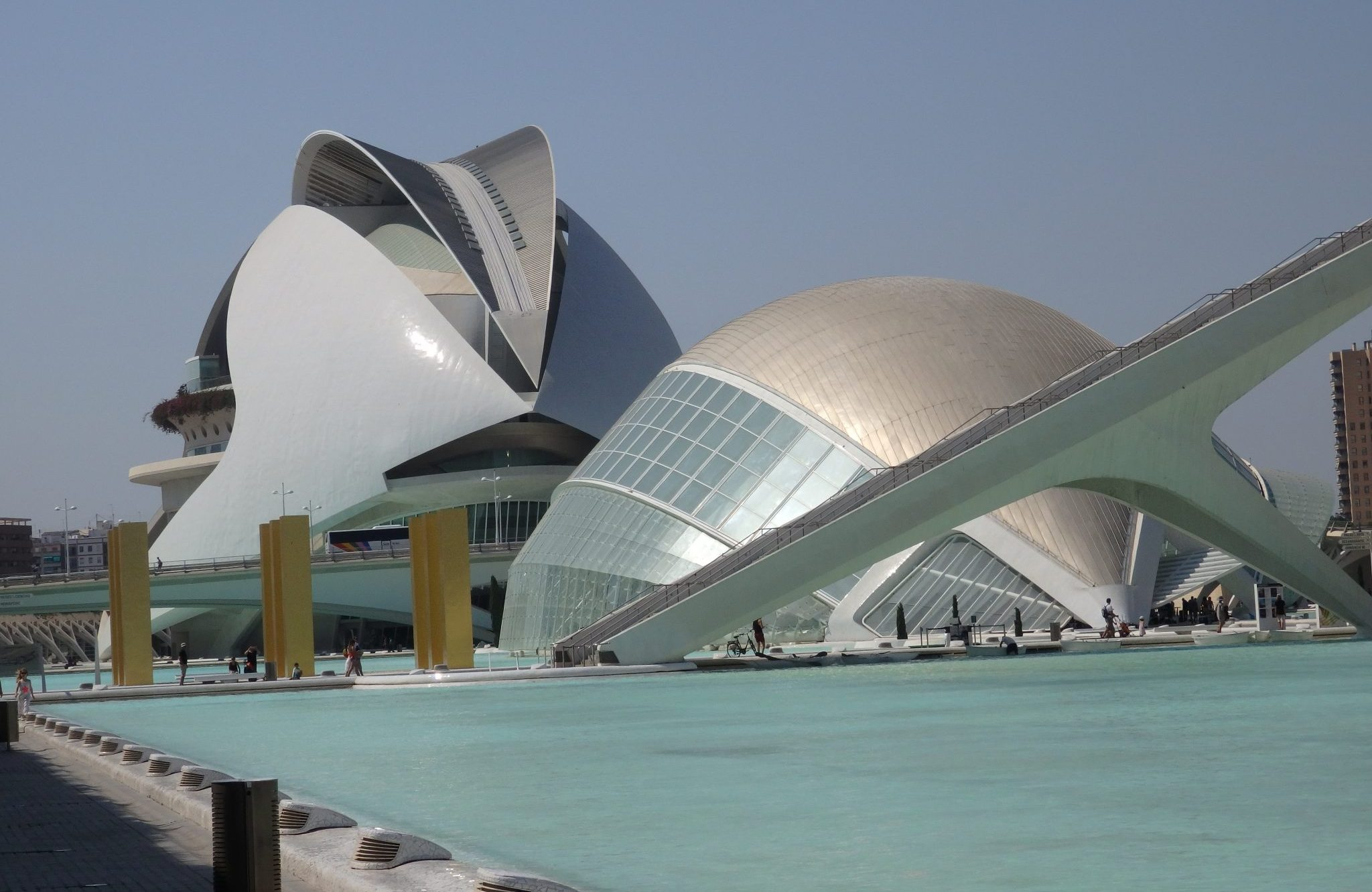In the background, the Palau de les Arts. In front of that, the IMAX theater. At the City of Arts and Sciences in Valencia, Spain