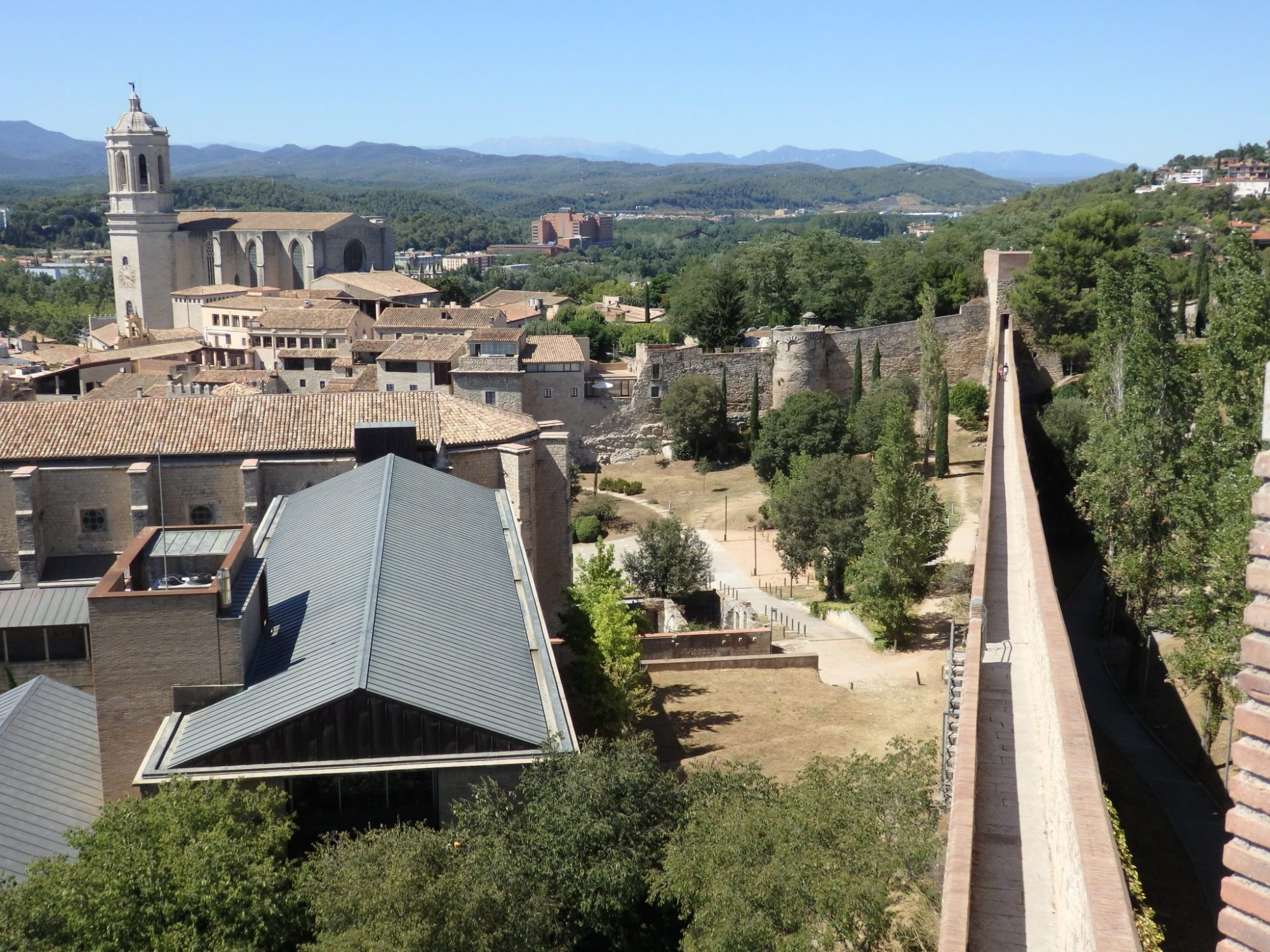 view from the city wall of Girona, Spain