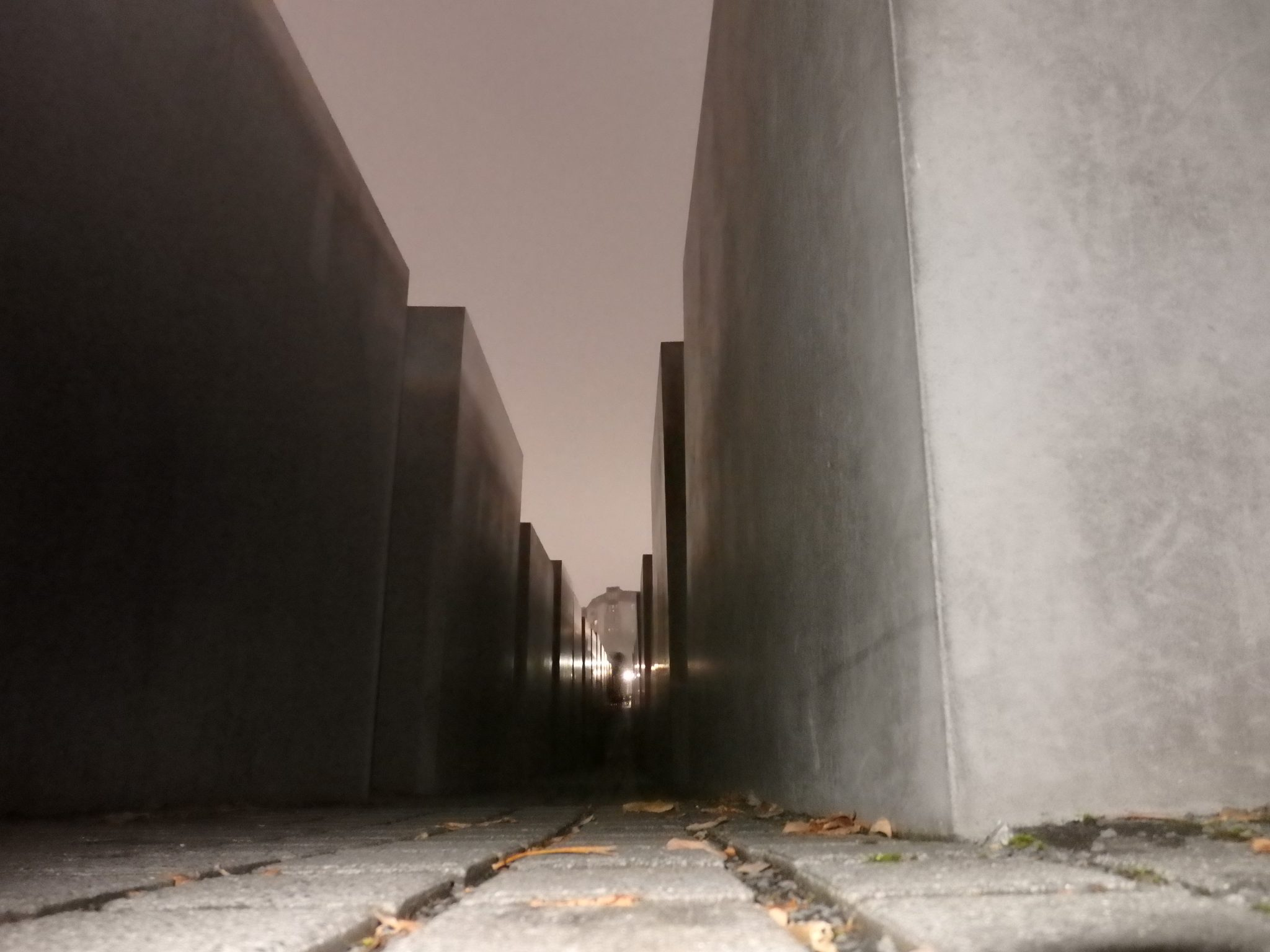 Another view of the monument at night, lit for a short distance by my camera's flash. Memorial to the Murdered Jews of Europe in Berlin