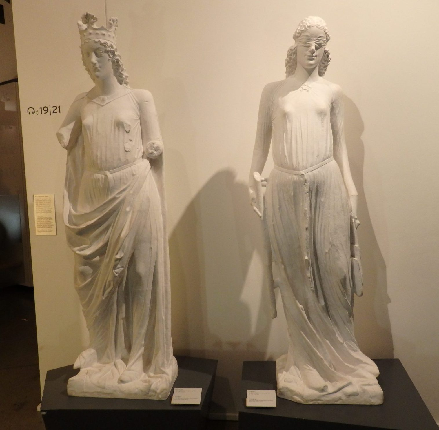 "medieval statues. According to the museum sign, Synagoga, right, representing Judaism, is ""blind to salvation and thus inferior to her rival Ecclesia, left, who symbolized the Church."" Shows Christian attitudes toward Jews in the Middle Ages."