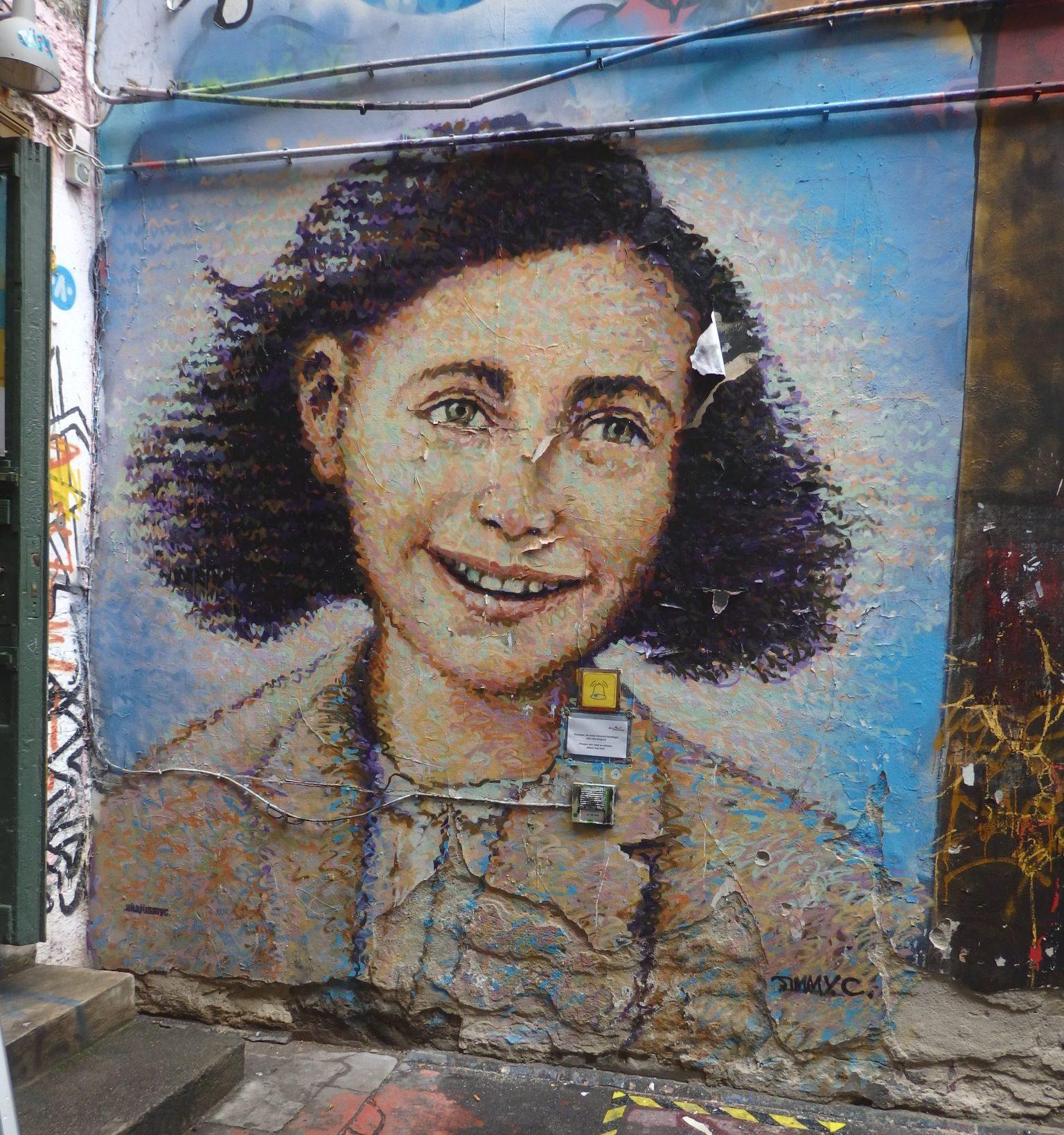 Anne Frank: street art at Haus Schwarzenberg, Berlin