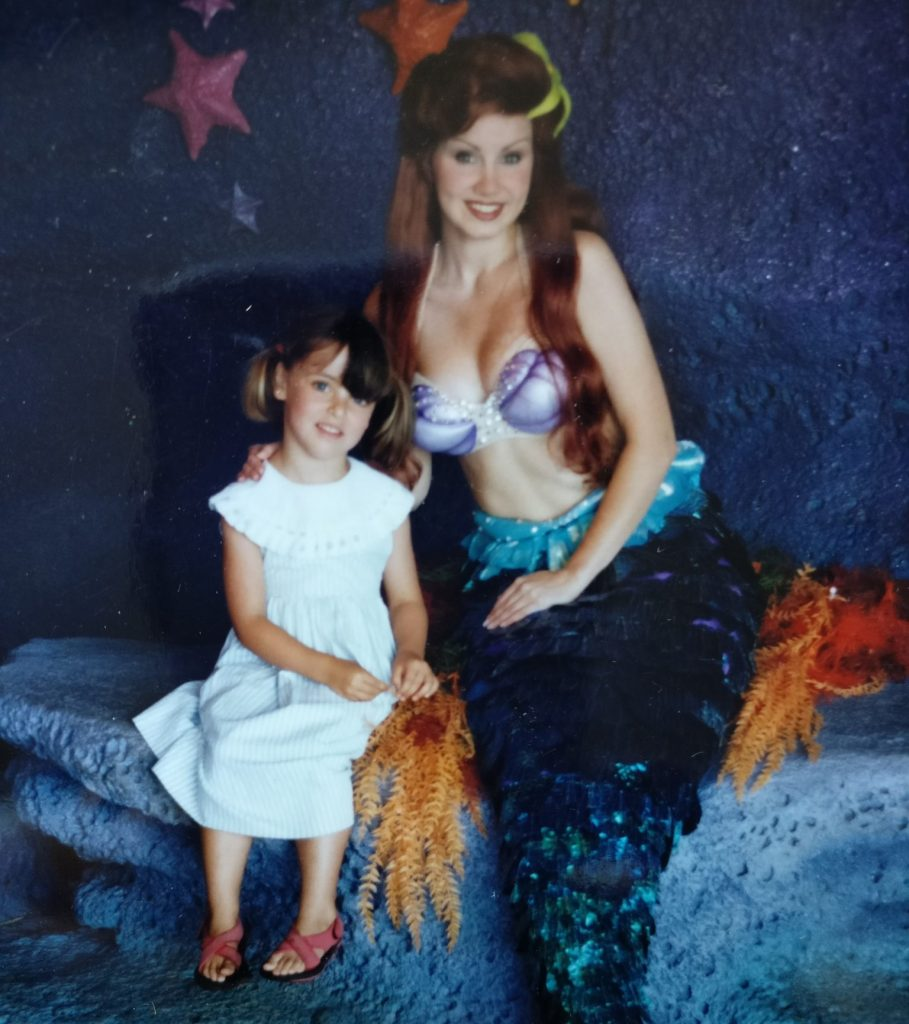 My daughter at four, feeling shy with the REAL Ariel at Disneyworld, Orlando, Florida