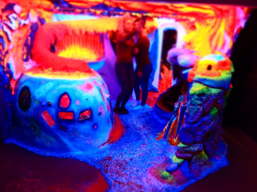 "Two girls taking a selfie in the ""environment"" in Electric Ladyland Fluorescence Museum in Amsterdam"