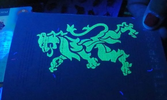 You can barely see the watermark on the pages of a Dutch passport under normal light, but the black light revealed this lion. Electric Lady Fluorescence Museum, Amsterdam