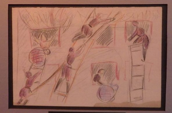 The very sketchy drawing is done with pencil in two colors: red and black. In it, peole are climbing up ladders to holes in the walls, presumably bunks. They are handing things up or down the ladders to each other.