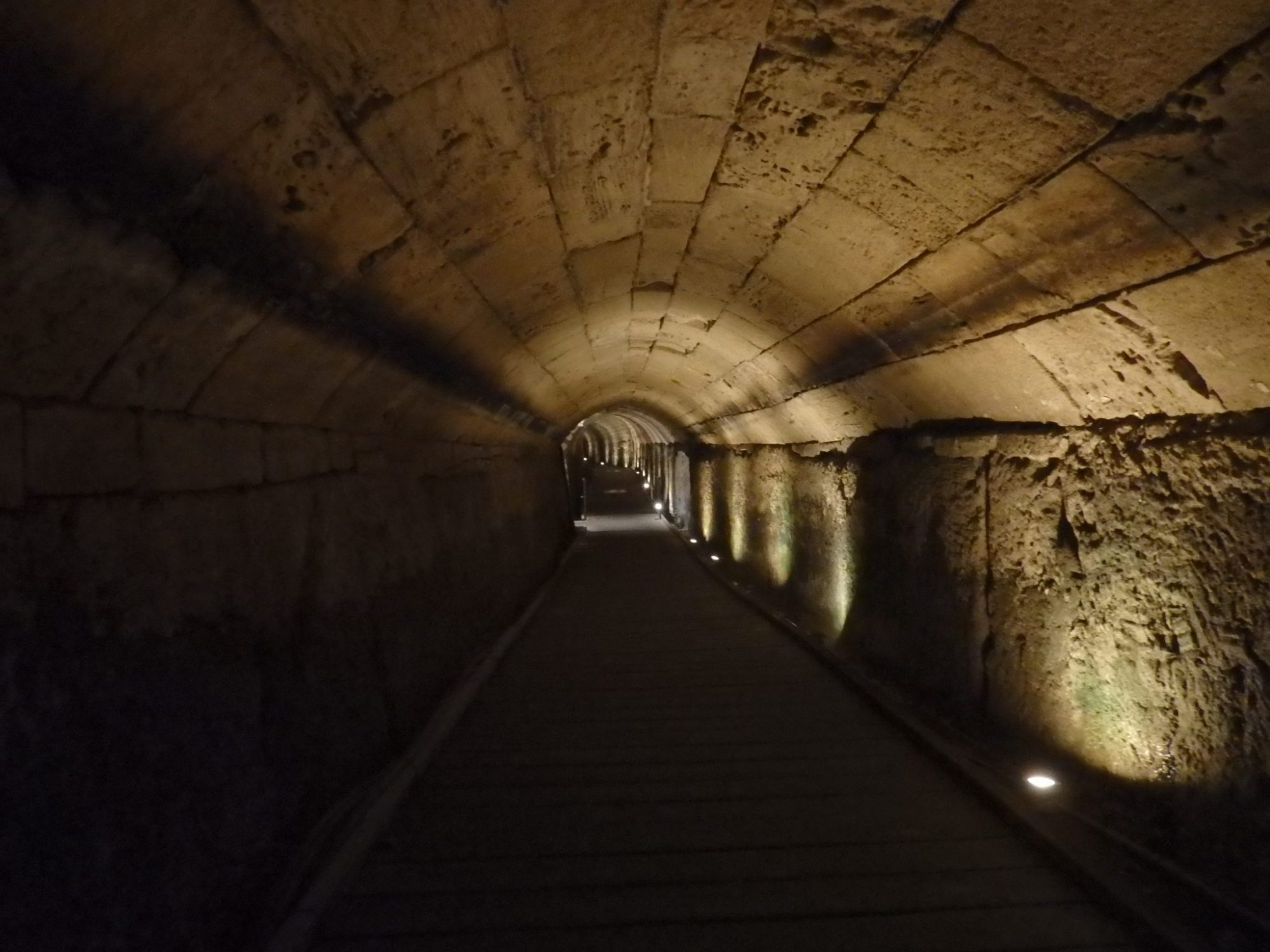 A view down the Templar Tunnel, which linked the Templar's original fortress to the port.