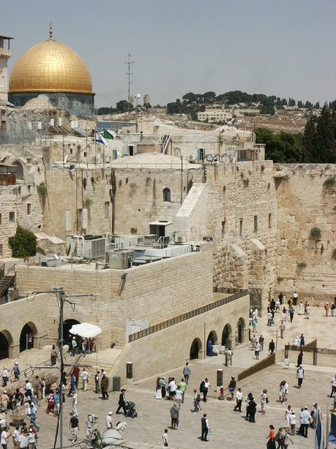 The Western Wall is on the far right of this photo. The gold dome above is the Dome of the Rock. Visit the Tower of David.