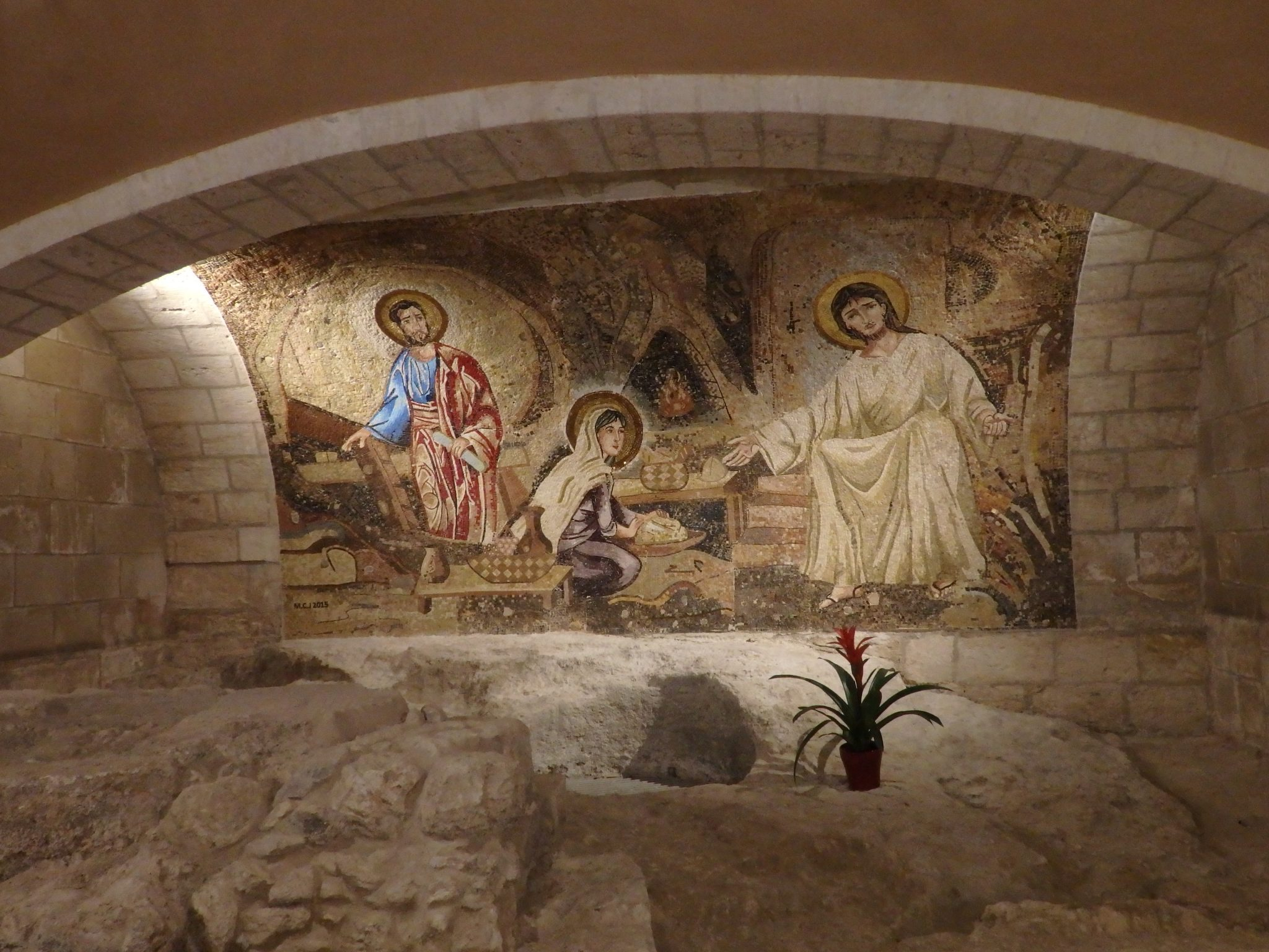This mosaic adorns a wall in the basement of the Church of St. Joseph, above the spot where Joseph's shop or home stood in biblical Nazareth.