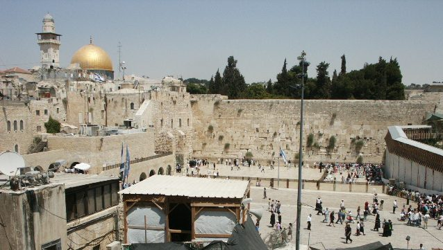 In this photo, you can see the Western Wall, which is the most holy site to Jews, and the golden Dome of the Rock, the third most holy site to Muslims.