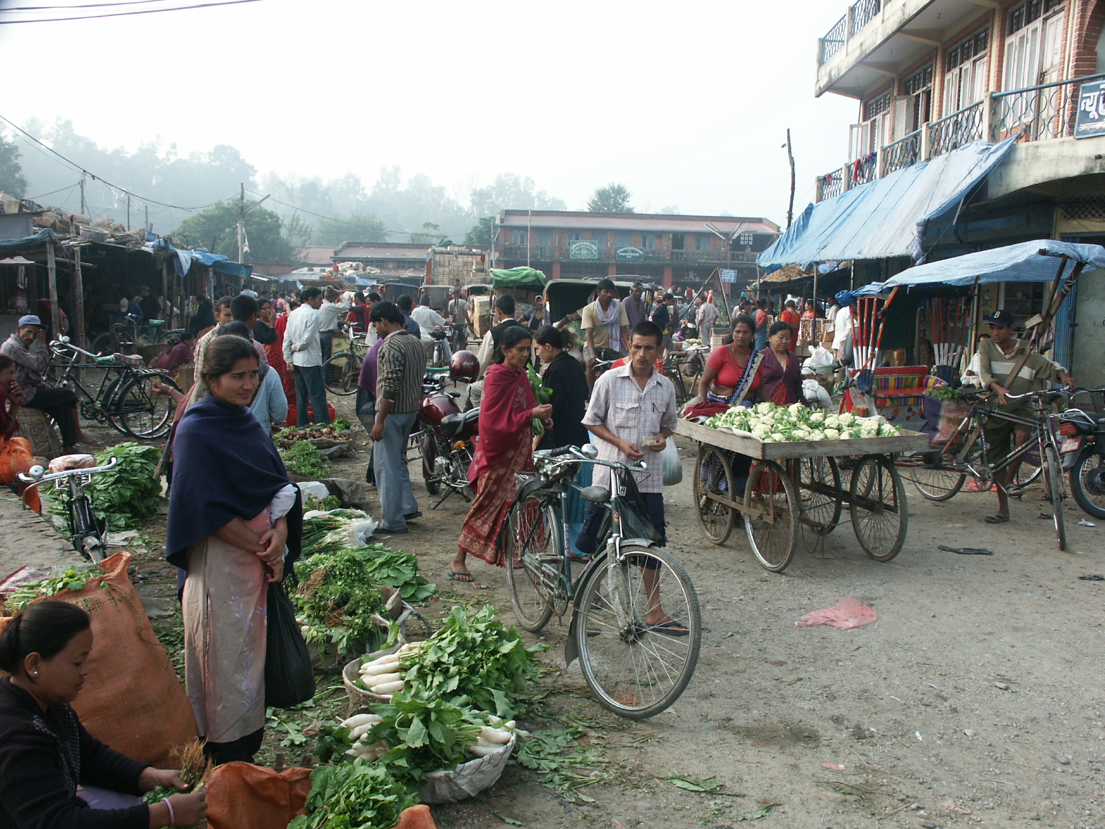A street scene in Nepal. The roads in Nepal are shared territory. Here you can see vendors, bicycles, handcarts, motorcycles, rickshaws and pedestrians all sharing the same space.