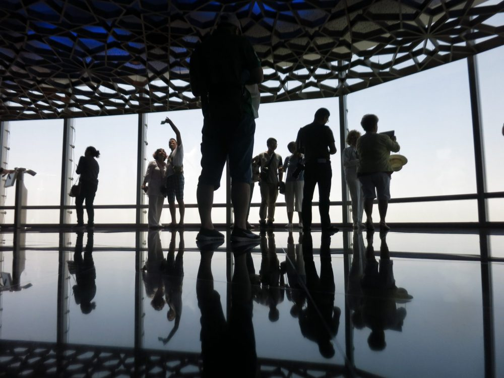 Tourists on the 125th floor of Burj Khalifa