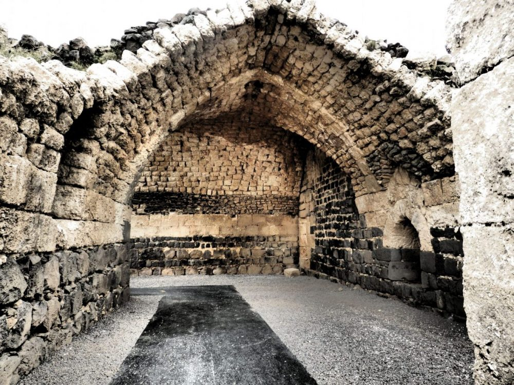 An arched storeroom or stable inside the keep of Belvoir Fortress, Israel.