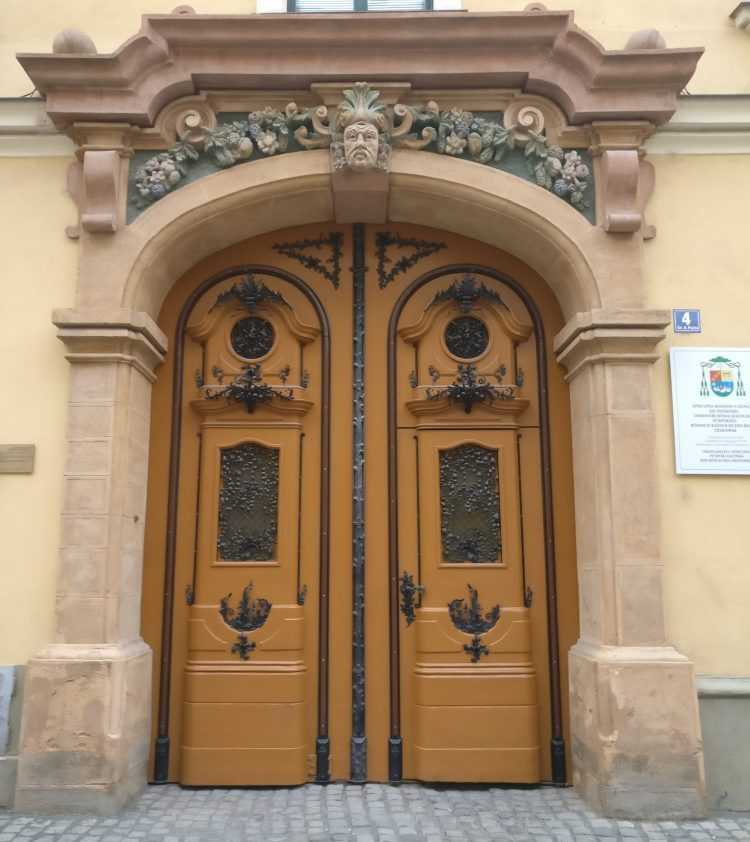an ornate doorway in Timisoara, Romania. Timisoara photo essay.
