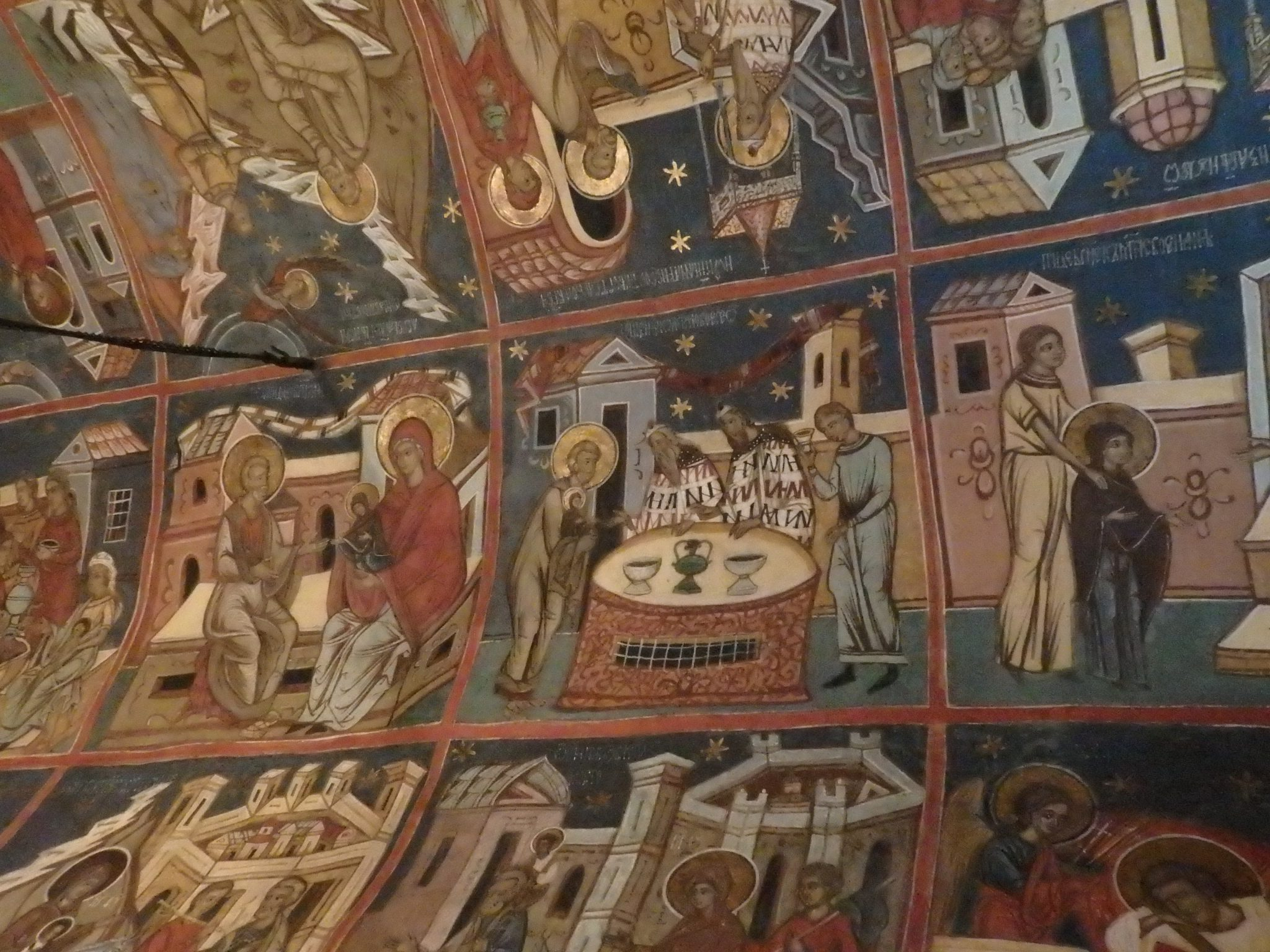a detail of the ceiling inside the church at Humor Monastery: the Spectacular Painted Churches of Moldavia