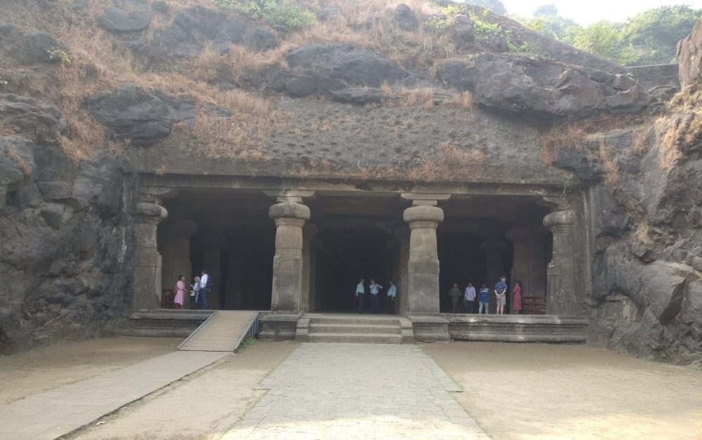 the entrance to Cave 1. Elephanta Island travel guide