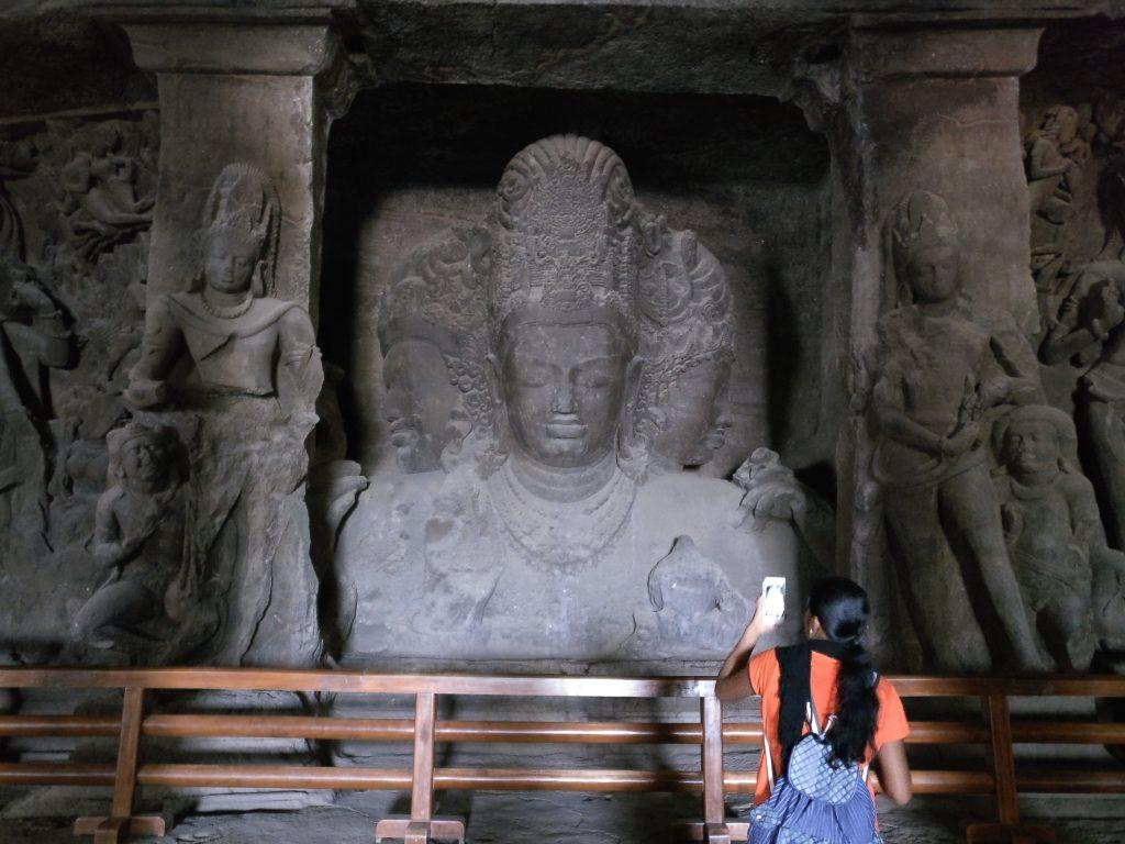 The three-headed Shiva in Cave 1