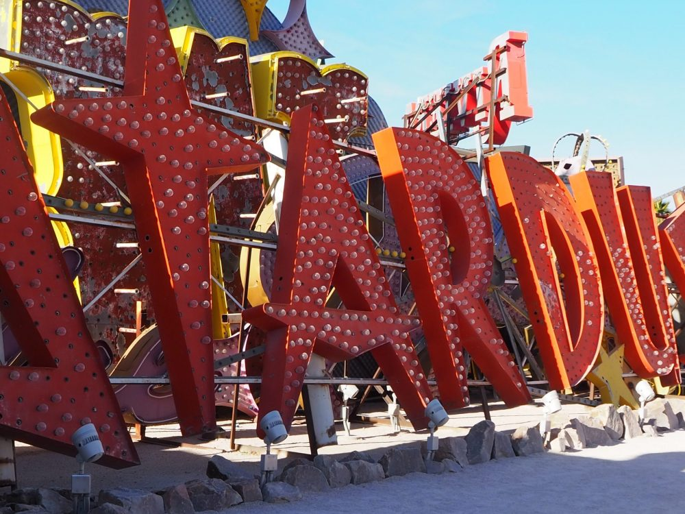 The sign from the Stardust Resort and Casino at the Neon Museum Las Vegas