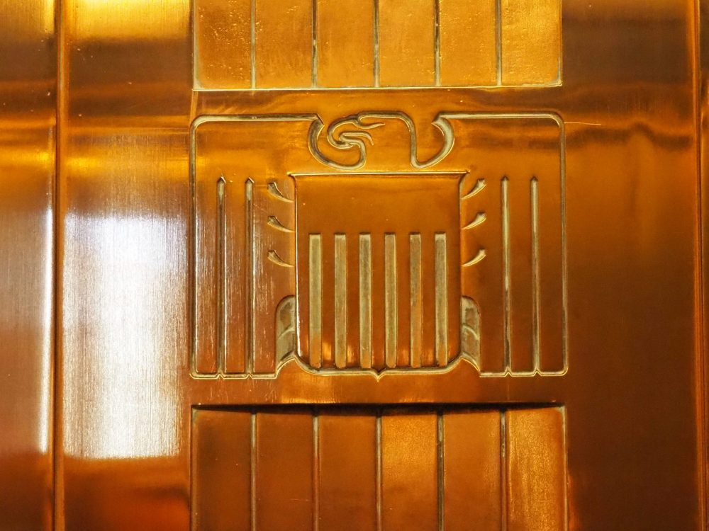 This detail from an elevator door on top of Hoover Dam shows an Art Deco eagle. Make sure to watch out for details like this if you take a tour of Hoover Dam.
