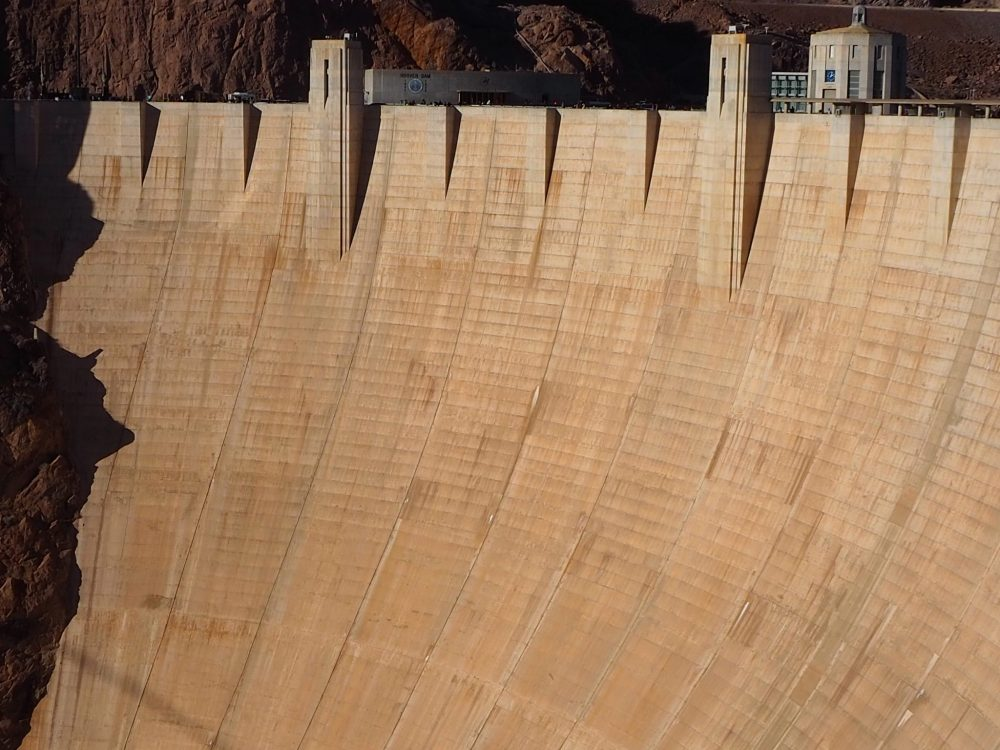 This photo shows only some of the downriver side of Hoover Dam. You can get a sense of the size, though, when you see the tiny people on the top.