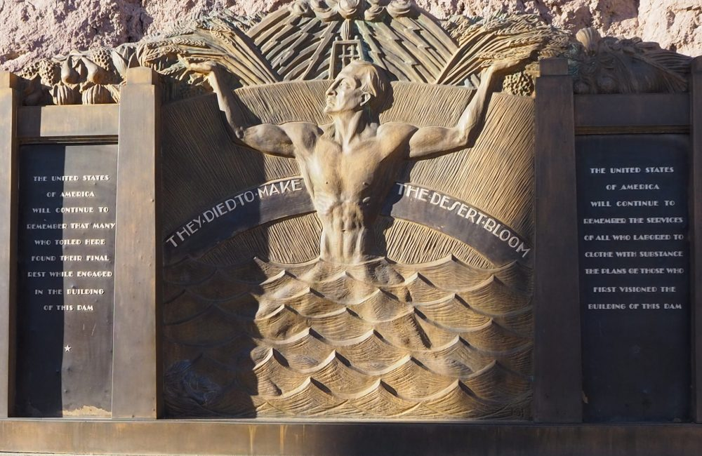 Art Deco style memorial to those who died building Hoover Dam: make sure to see it when you take a Hoover Dam tour.
