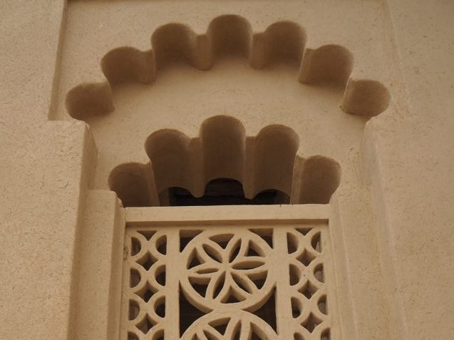 detail of a window on the entrance of Hili Tower in Al Ayn