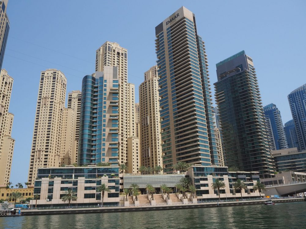A sampling of the sorts of architecture on view in the Marina on your Dubai boat trip.