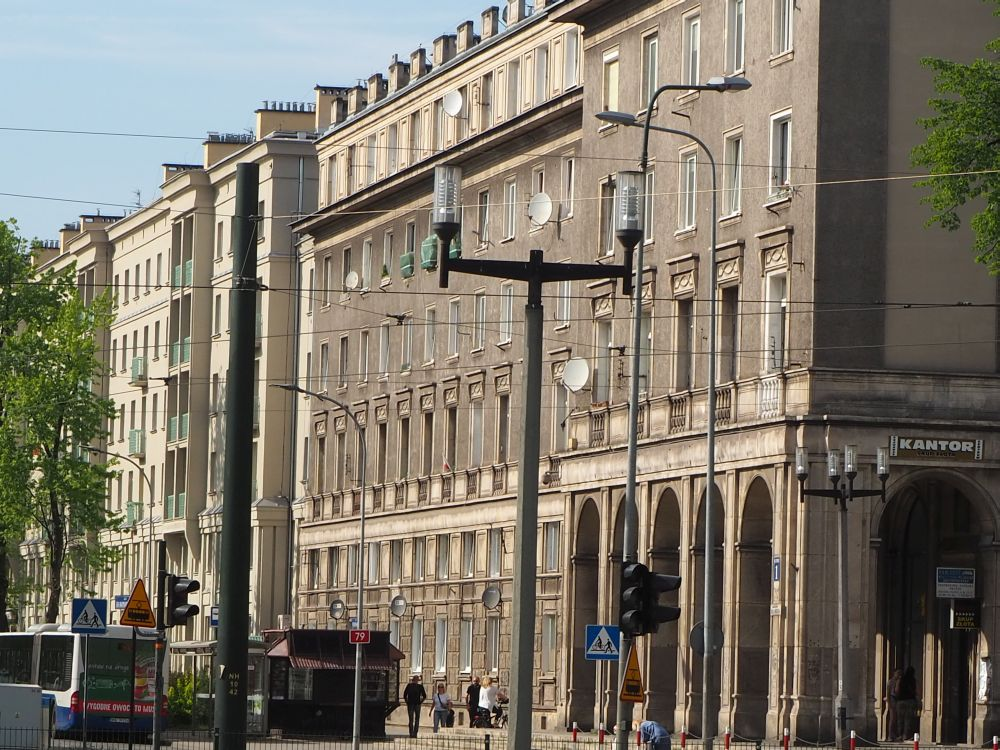 Buildings on a wide boulevard in Nowa Huta.