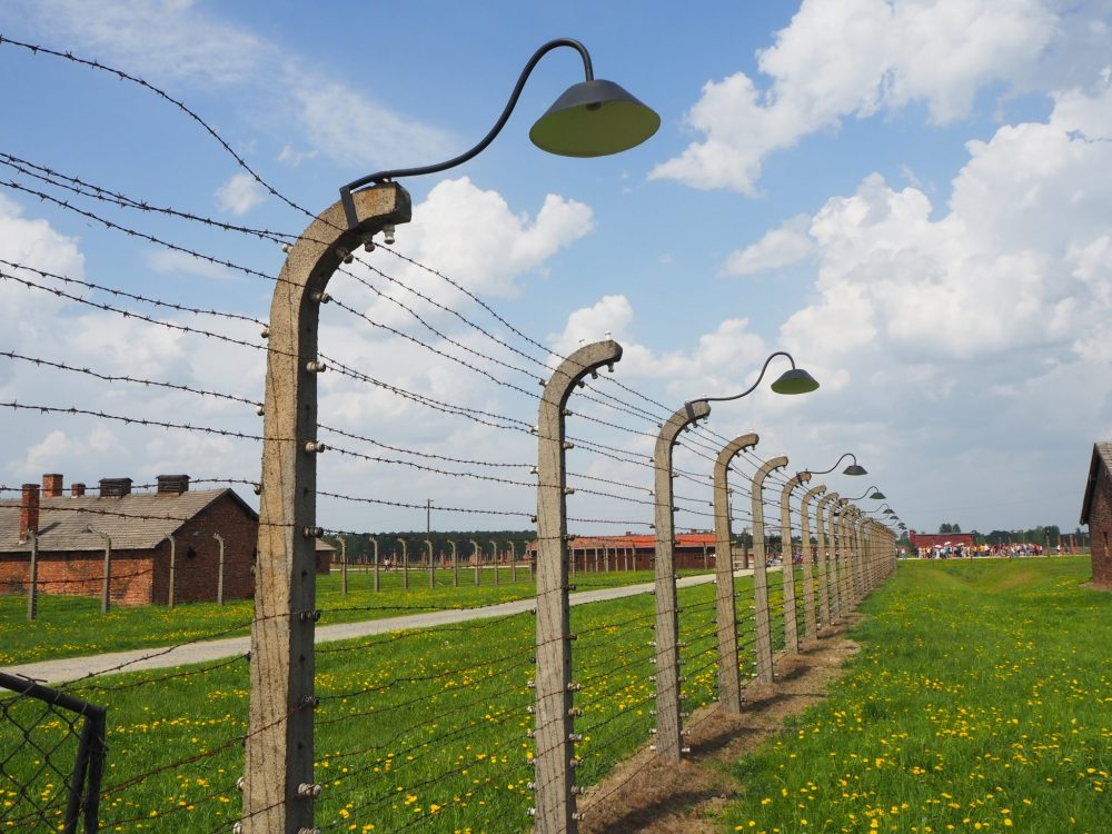 Barbed wire fencing at Auschwitz II Birkenau.