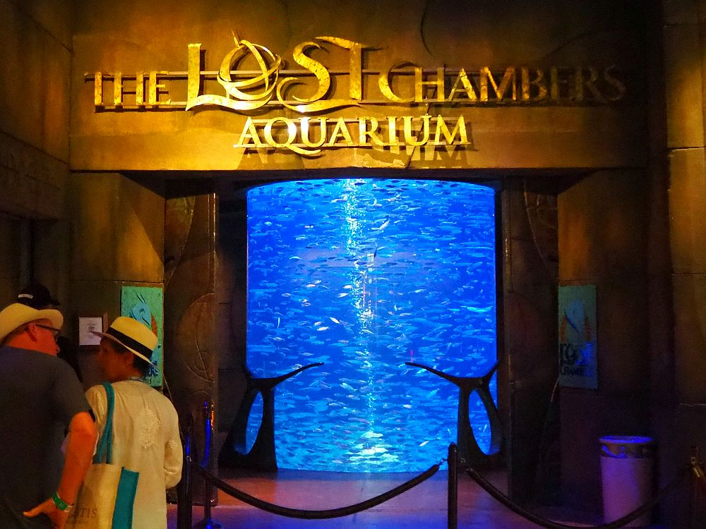 "The entrance says ""The Lost Chambers Aquarium"" above the door. Visible in the entrance is a large floor to ceiling tank lit in blue with lots of silver fish swimming in a school."