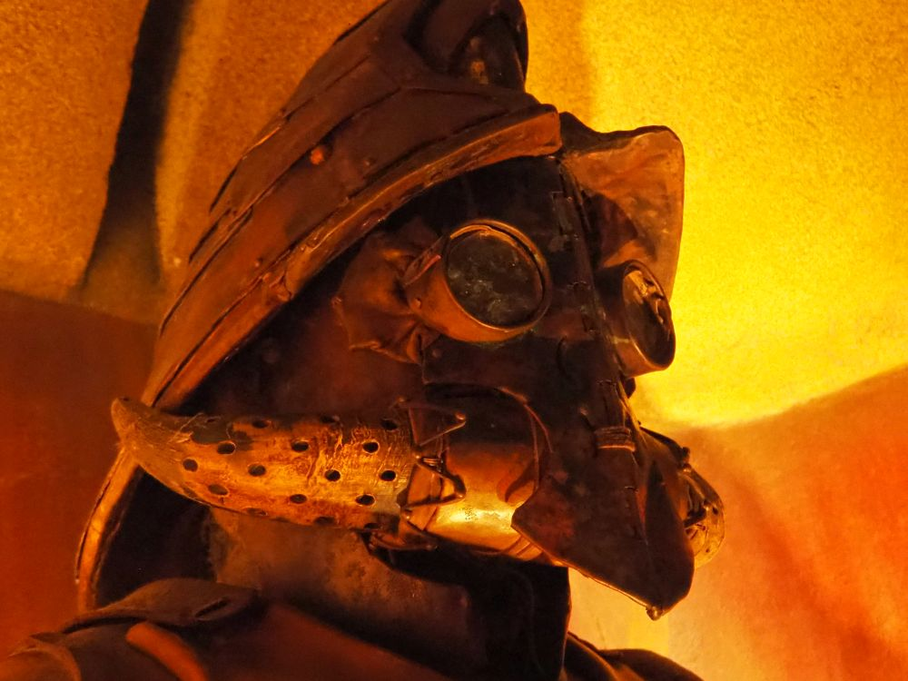 "a close-up of a ""mining suit"" at the Lost Chambers Aquarium"