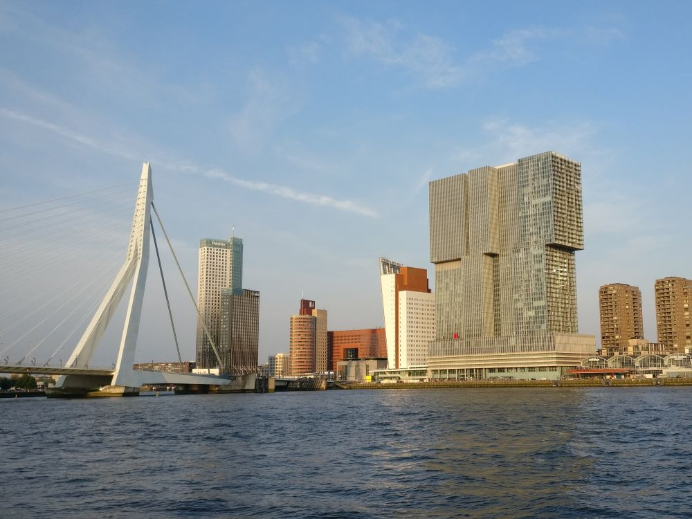 Erasmus Bridge on the left as seen from the shore of the river, looking white against blue sky. ON the opposite shore, the De Rotterdam building is a huge gray building, with lots of windows, in sections that are offset from each other, i.e. as if building blocks have been piled up but not quite lined up.