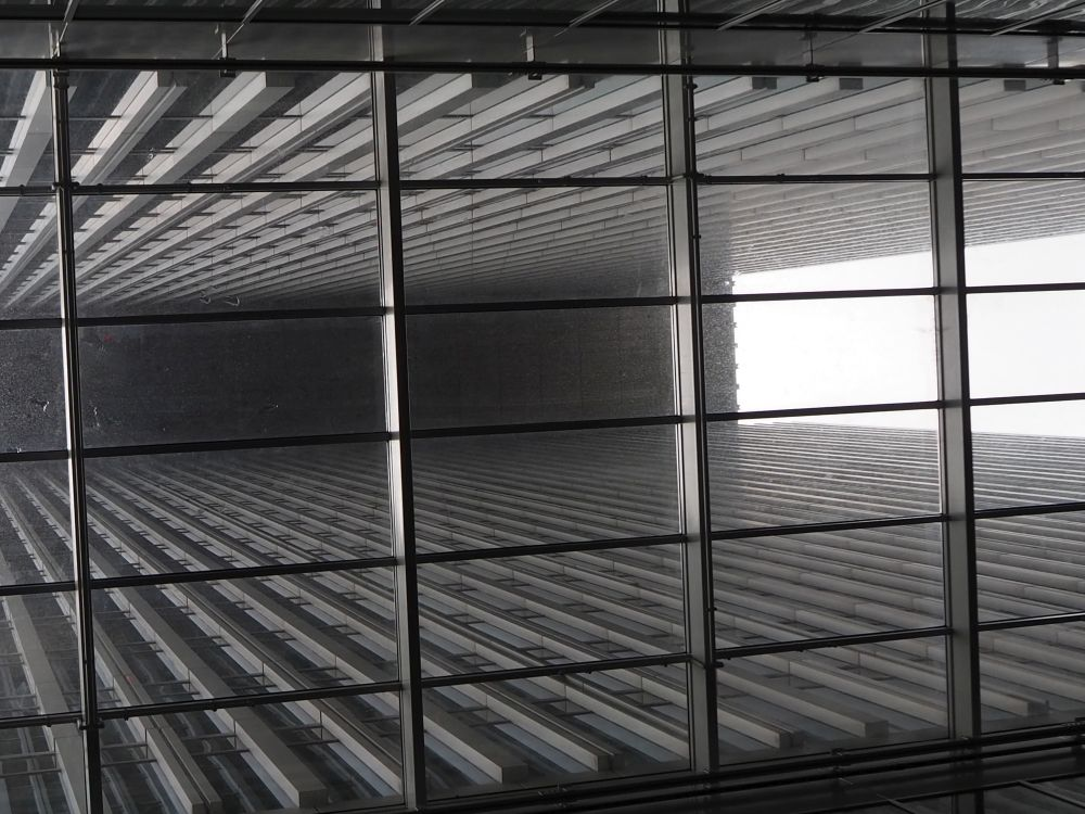 Looking out from inside one of the lower floors of De Rotterdam, as seen on a De Rotterdam Tour.
