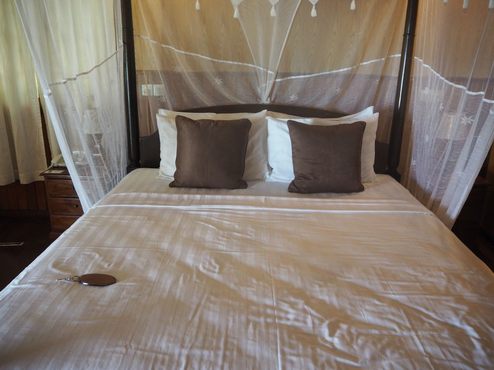 our bed at Lankayan Island Resort
