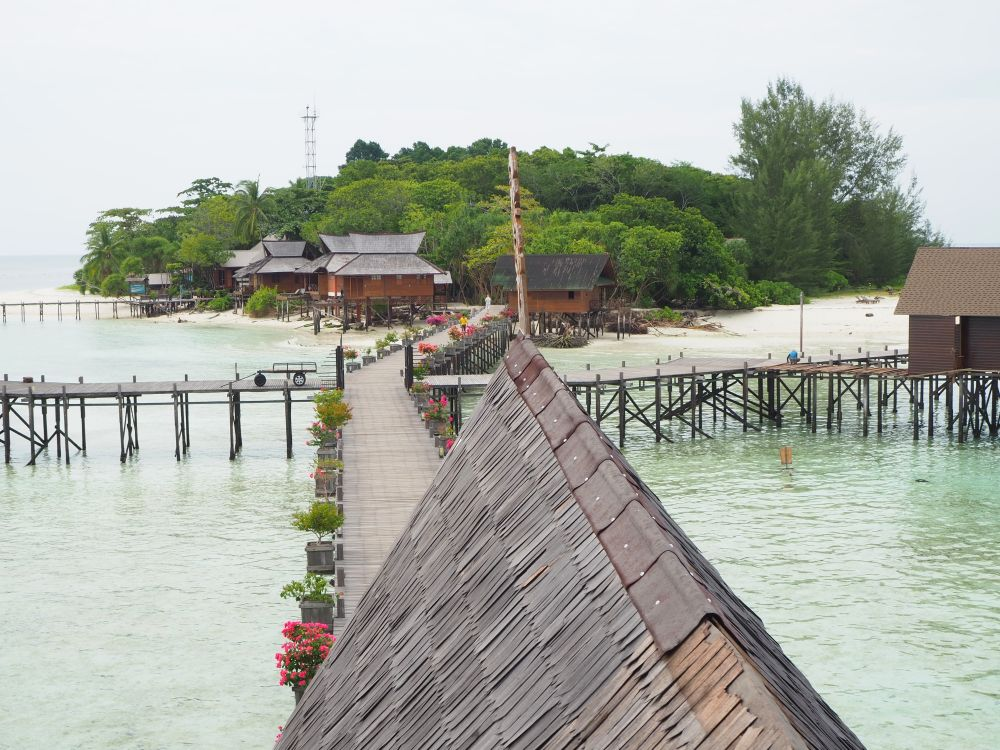 This is the view from upstairs in the main building, looking back toward Lankayan Island.