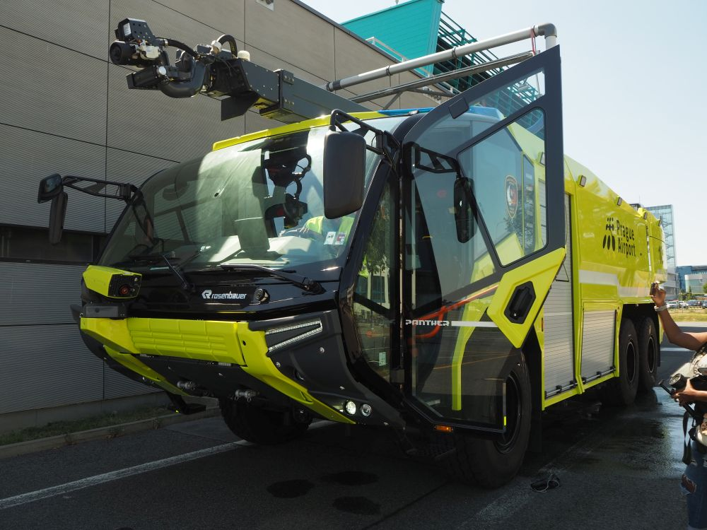 This state-of-the-art firetruck can be operated by just a single person, who doesn't even have to leave the cab.