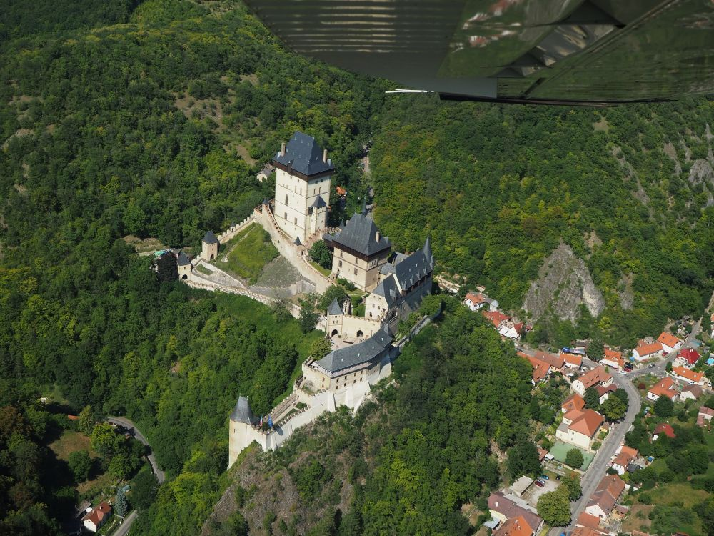 Karlstejn Castle as we saw it from our flight. You can see the underside of the plane's wing at the top of the picture.