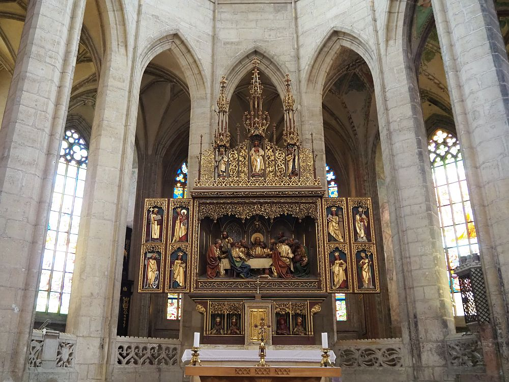 The main altarpiece inside St. Barbara Cathedral in Kutna Hora, the Czech Republic