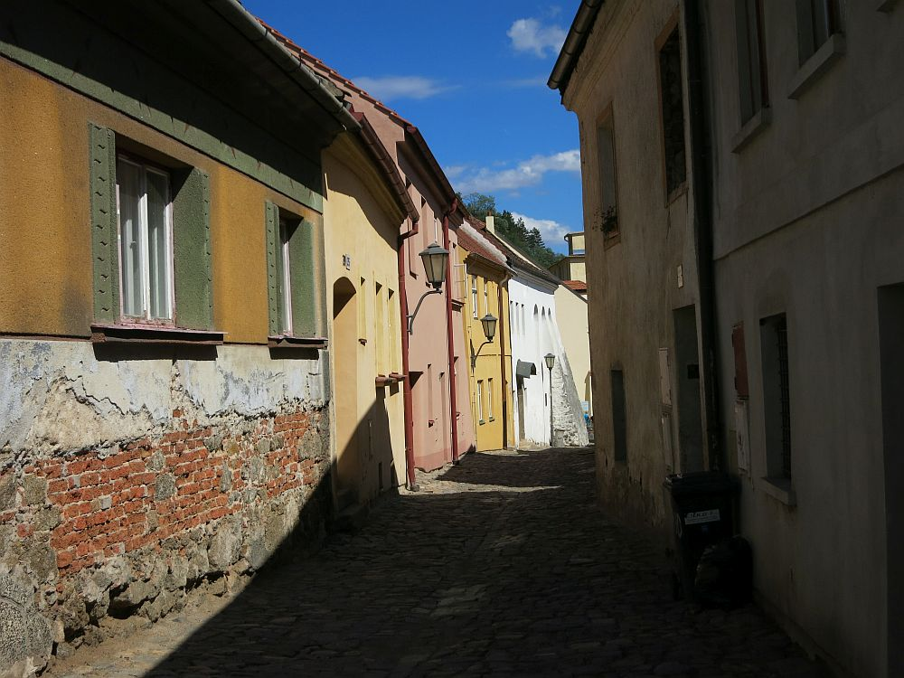street view in the Jewish Quarter of Trebic UNESCO site in the Czech Republic. The white building down the street is the synagogue that is open for visitors.
