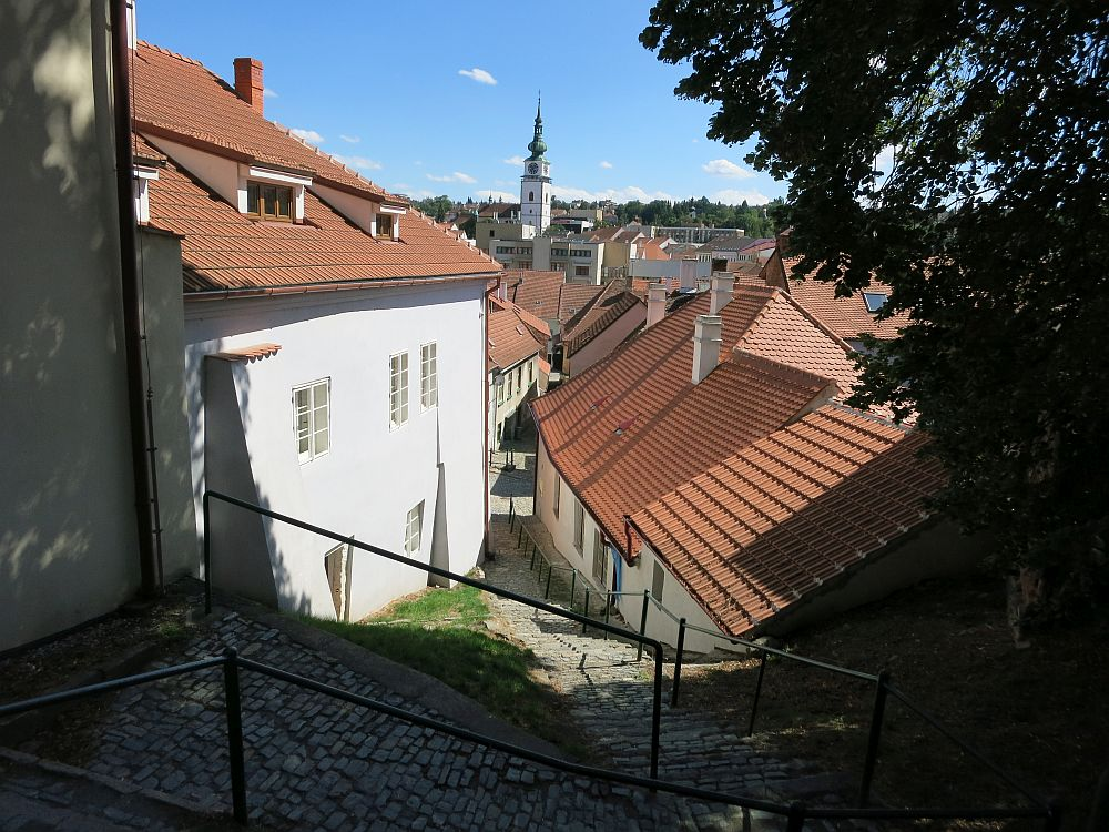 a view into the Jewish Quarter from partway up the path. The church in the distance is on the other side of the river, beyond the Jewish Quarter.