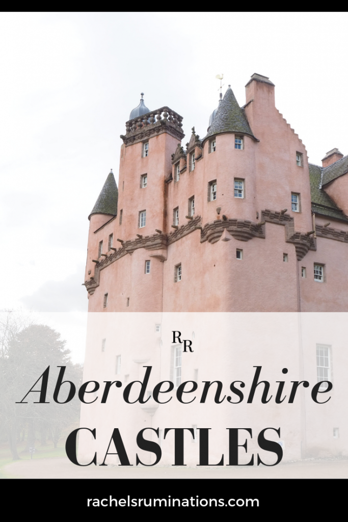 Pinnable Image Text: Aberdeenshire Castles Image: pink, turreted Craigievar Castle
