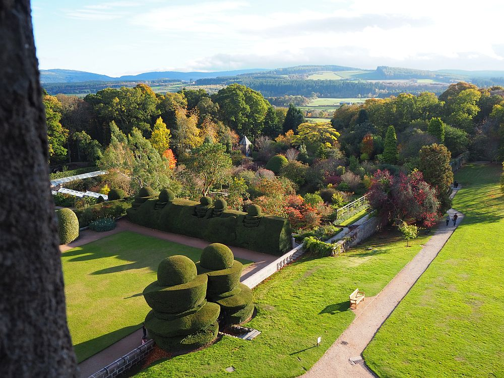 The walled garden at Crathes Castle, Scotland, can be seen in the distance in this view.