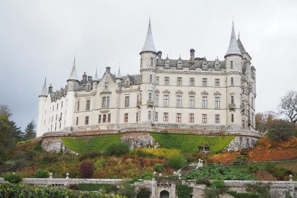 Dunrobin Castle, Scotland, as seen from the garden.